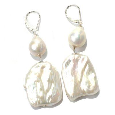 "131-261 - Sterling Silver 2.75"" Baroque Freshwater Cultured Pearl Drop Earrings"