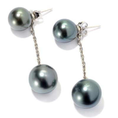 "131-264 - Sterling Silver 1.5"" 9-11mm Black Tahitian Cultured Pearl Convertible Earrings"