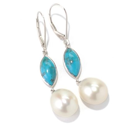 "131-265 - Sterling Silver 2"" 11-12mm White Freshwater Cultured Pearl & Gemstone Earrings"
