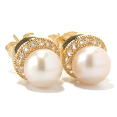 131-266 - 6-7mm White Freshwater Cultured Pearl & White Topaz Stud Halo Earrings