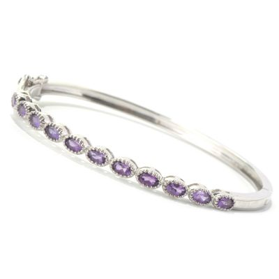 "131-274 - Gem Treasures Sterling Silver 7.25"" Oval Gemstone Bangle Bracelet"