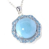 SS ROUND LARIMAR WITH SWISS BLUE TOPAZ PEND WITH CHAIN