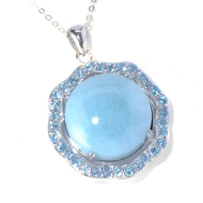 131-275 - Gem Insider Sterling Silver 18mm Blue Larimar & Swiss Blue Topaz Pendant w/ Chain