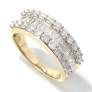 131-325 - Diamond Treasures 14K Gold 1.50ctw Baguette & Round Diamond Three-Row Band Ring