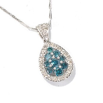 131-337 - Beverly Hills Elegance 14K White Gold 0.99ctw Blue & White Diamond Pendant w/ 18'' Chain