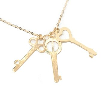 131-360 - Italian Designs with Stefano 14K Gold 18'' ''Three Keys'' Necklace