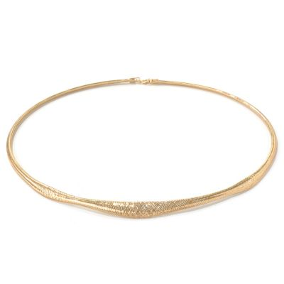 "131-370 - Italian Designs with Stefano 14K Gold 18"" Stretch Mesh Omega Necklace"
