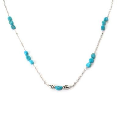"131-380 - Gem Insider Sterling Silver 32"" Sleeping Beauty Turquoise Station Necklace"