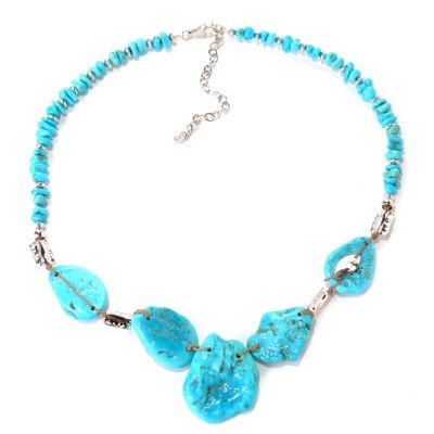 "131-394 - Gem Insider Sterling Silver 18"" Sleeping Beauty Turquoise Bead Necklace"