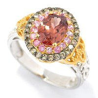 SS/PALL RING 8x6MM COPPER CINNAMON ZIRCON w/ PINK SAPH & MOCHA DIA