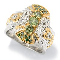 SS/PALL RING 3-STONE TASHMARINE & GREEN DIAMOND
