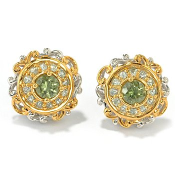 131-481 - The Vault from Gems en Vogue II 1.04ctw Tashmarine & Green Sapphire Stud Earrings