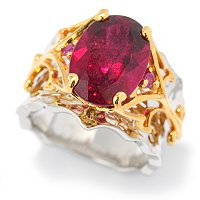 SS/PALL RING 14x10MM RUBELLITE & RUBY MARTELLATO BAND