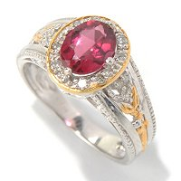 SS/PALL RING 8x6MM RUBELLITE & DIA