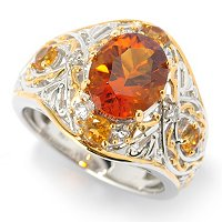 SS/PALL RING 10x8MM FIRE CITRINE & MULTI GEMSTONE
