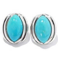 SS OVAL TURQUOISE BUTTON EARRINGS