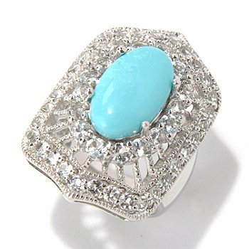 131-495 - Gem Insider Sterling Silver 14 x 8mm Turquoise & White Topaz Antique-Style Ring