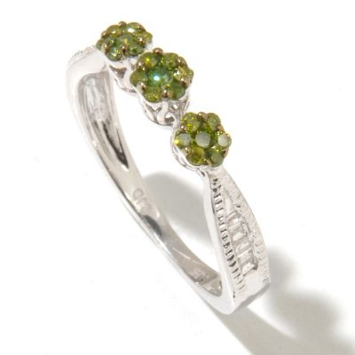 131-520 - Diamond Treasures Sterling Silver 0.33ctw Green & White Diamond Three-Flower Ring