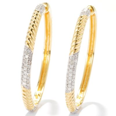 "131-529 - Southport Diamonds Sterling Silver & 14K Vermeil 1.5"" 0.75ctw Diamond Hoop Earrings"