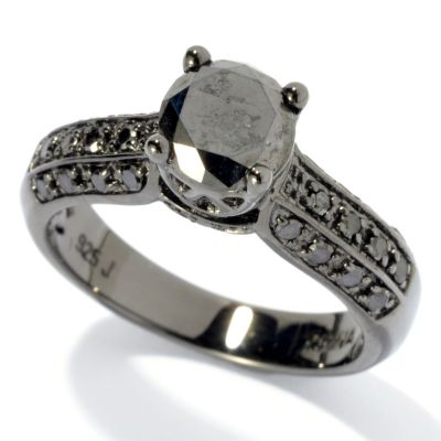 131-569 - Diamond Treasures Sterling Silver & Black Rhodium 1.40ctw Round Black Diamond Ring