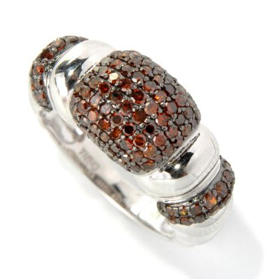 131-577 - Diamond Treasures Sterling Silver 1.00ctw Round Diamond Pave Three-Station Ring