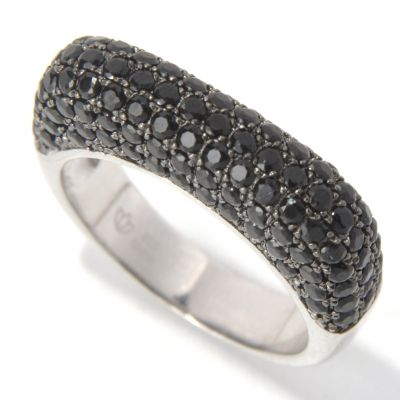 131-593 - NYC II Black Spinel Square Euro Top Band Ring
