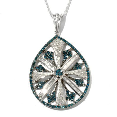 131-617 - Diamond Treasures Sterling Silver 1.99ctw Blue & White Diamond Pendant w/ Chain