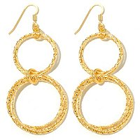 SS/18KGP EAR DIA CUT MULTI CIRCLE DOUBLE DROPS