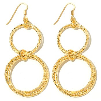 131-637 - Scintilloro™ Gold Embraced™ 2.75'' Diamond Cut Circle Double Drop Earrings