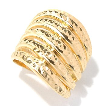 131-642 - Scintilloro™ Gold Embraced™ Diamond Cut Wave Design Wide Band Ring