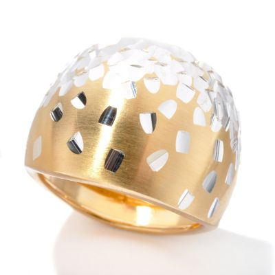 131-643 - Scintilloro™ Gold Embraced™ Two-tone Diamond Cut Confetti Dome Ring