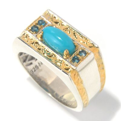 131-652 - Men's en Vogue II 10 x 5mm Sleeping Beauty Turquoise & London Blue Topaz Hammered Ring