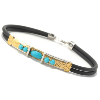 131-653 - Men's en Vogue II Sleeping Beauty Turquoise Double Rubber Cord Bracelet