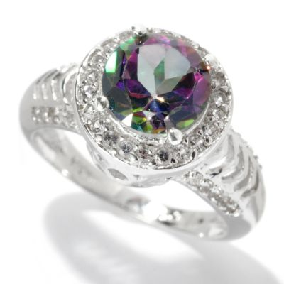 "131-669 - Gem Treasures Sterling Silver 2.20ctw Topaz ""Kellie Anne"" Round Halo Ring"