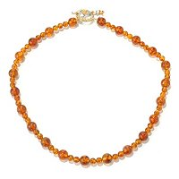 SS/PALL NECK ALTERNATING BALTIC AMBER BEAD & TOGGLE CLASP