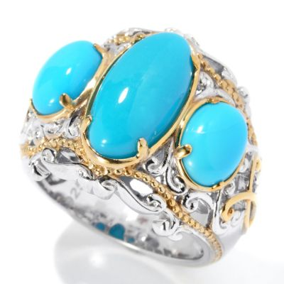 131-697 - Gems en Vogue II Sleeping Beauty Turquoise Three-Stone Ring