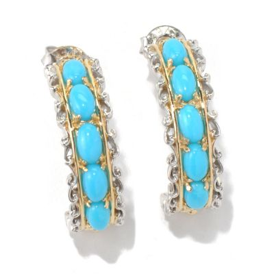 131-698 - Gems en Vogue II Sleeping Beauty Turquoise J-Hoop Earrings