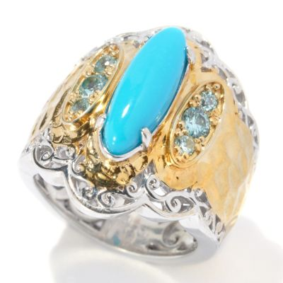 131-699 - Gems en Vogue II Sleeping Beauty Turquoise & Blue Zircon Hammered Ring