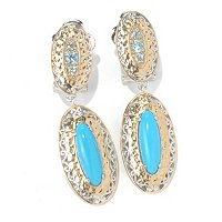 SS/PALL EAR SLEEPING BEAUTY TURQUOISE & BLUE ZIRCON MARTELLATO DROP