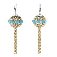 SS/PALL EAR SLEEPING BEAUTY TURQUOISE BALL & CHAIN TASSLE