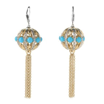 "131-702 - Gems en Vogue II 2.5"" Sleeping Beauty Turquoise Ball & Chain Tassel Earrings"