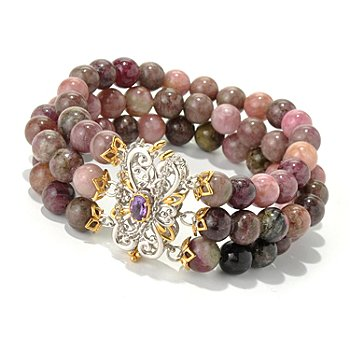131-704 - Gems en Vogue II 6.5'' Multi Color Tourmaline & Amethyst Beaded Three-Row Bracelet