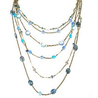 MULTI-STRAND GRADUATED CRYSTAL BEAD NECKLACE
