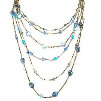 131-713 - Sweet Romance™ 20'' Shaded Blue Crystal Six-Strand Graduated Necklace