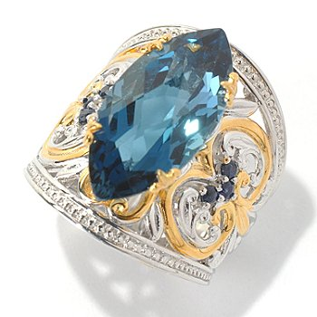 131-725 - Gems en Vogue II 8.98ctw Marquise Shaped London Blue Topaz & Sapphire Ring