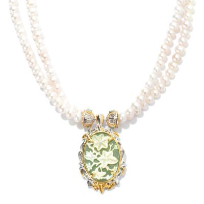 131-728 - Gems en Vogue II Carved Aventurine Doublet Enhancer & Cultured Pearl 2-Strand Necklace