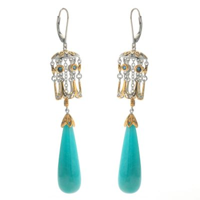 "131-729 - Gems en Vogue II 3"" Amazonite & London Blue Topaz Elongated Drop Earrings"