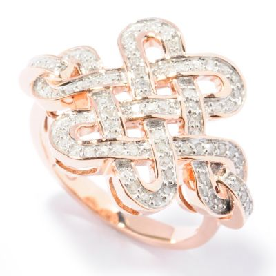 131-754 - Beverly Hills Elegance 14K Rose Gold 0.35ctw Diamond Wide Knot Ring