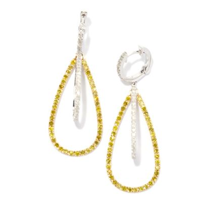 "131-756 - Beverly Hills Elegance 14K Two- tone 1.75"" 1.82ctw Yellow & White Diamond Earrings"