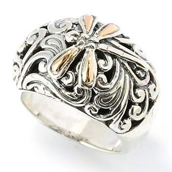 131-761 - Artisan Silver by Samuel B. Two-tone Dragonfly Dome Ring